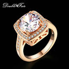 Square Clear CZ Stone Finger Rings Rose Gold Plated Engagement Jewelry For Women
