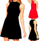 Womens Casual High Neck Sleeveless Evening Party Cocktail Club Short Mini Dress