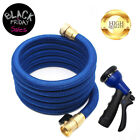 25/50/100 Feet Deluxe Expandable Flexible Garden Water Hose w/ Spray Nozzle Blue