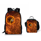 Fire Print Cool Backpack Boy Men Sport Style School Bags Cooler Totes Lunch Bags