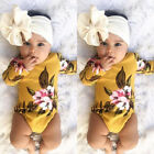 US Stock Infant Baby Girl Flower Print Romper Bodysuit Jumpsuit Headband Clothes