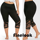 Finelook Womens YOGA Workout Running Gym Sport Pants Leggings Fitness Black Lace