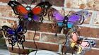 """Внешний вид - Garden Stakes Butterflies Painted Decor Etched Metal Wing Design Marbles 18"""" New"""