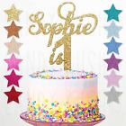 Personalised 1st Birthday Glitter Cake Topper Custom Any Name Age First One 2 3