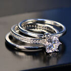 Three Rings Set Prong Set Never Loss Stone Women's Wedding Engagement Ring Sr135