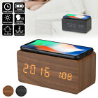 Modern Wooden Digital LED Desk Alarm Clock Thermometer C°/F° Qi Wireless Charger