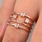 Fashion Rose Gold Filled Women's Wedding Rings Jewelry White Sapphire Size6-10 image
