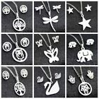 Lovely Rose Butterfly heart tree Stainless Steel Earrings Necklace Jewelry Sets
