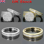 18k Womens Crystal Engagement Wedding 2pcs Ring Set Cubic Zirconia Ring Jewelry