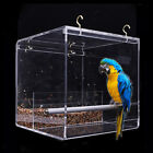 Acrylic Bird Feeder Box with 4 Strong Hooks for Parrots, Finches, Conures