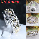 Womens Wedding Exquisite Crystal Silver Rings Band Ring Jewellery Size L N P R T