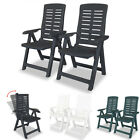 2 Pcs Folding Reclining Garden Chairs Durable Plastic Deck Patio Outdoor Seat