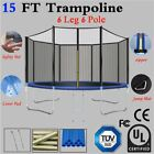 New12 15FT Trampoline Combo Bounce Jump Safety Enclosure Net W/Spring Pad Ladder