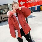 Women's Cotton Padded Coat Fur Hooded Mid Long Slim Fit  Warm Winter  Waistband