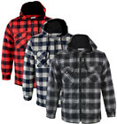 Mens Hooded Quilted Padded Shirt Lumberjack Flannel Work Jacket Check Warm M-3XL