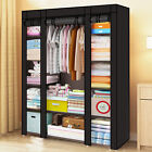LARGE FABRIC CANVAS WARDROBE WITH HANGING RAIL SHELVING CLOTHES STORAGE CUPBOARD <br/> ✔Amazing Price✔Color:Black✔Style:Modern✔UK Stock✔