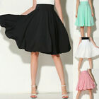 Women Flared Knee Length Skater Skirt Ladies Stretch Midi Office Work Skirt