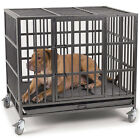 Heavy Duty 37'/48' Dog Crate Large Kennel Cage Metal Pet Playpen W/Wheels & Tray