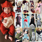 UK Casual Kids Baby Boys Girls Hooded One Piece Jumpsuit Romper Outfits Clothes