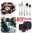 square dinnerware set for 8 85pcs stoneware