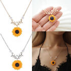 Women Boho Pendant Clavicle Cute Sunflower Necklace Leaf Branch Jewelry---