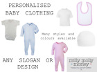 PERSONALISED BABY CLOTHING - t-shirts, babygrows, hats, bodysuits, rompers, bibs