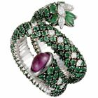 Stefan Hafner 18K White Gold Full Diamond and Emerald, Pink Sapphire Cabochon