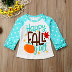 Toddler Baby Girl Boy Happy Fall Autumn Clothes Long Sleeve Party Tops T-Shirt