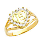 14K Gold Sweet Quinceañera 15 Años Dainty Ring with 16 Clear Cubic Zirconia