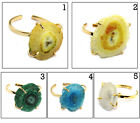 Faceted Natural Geode Druzy & Solar Quartz Gold Plated Adjustable Ring Jewelry $5.18 CAD on eBay
