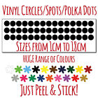 Circles/spots/polka Dots/vinyl Wall Stickers - Wide Choice Of Sizes & Colours