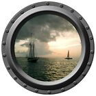 Schooner At Sunset Porthole Wall Decal
