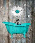 Rustic Teal Brown Daisy Flower Bathroom Farmhouse Wall Art Matted Picture