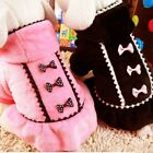 Small Pet Dog Warm Hoodie Coat Clothes Puppy Bowknot Sweater Jacket Apparel USA