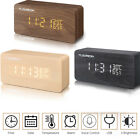 Modern Wooden Wood Digital LED Desk Alarm Clock Thermometer Timer Calendar Clock