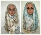Cotton Blend Viscose Maxi with Flower Print Crinkle Hijab Scarf Soft 180x100cm