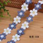2 Yards Milk silk Embroidered Flower lace Trim Appliques Sewing Skirt decoration