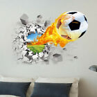 3d Football Wall Sticker Pvc Art Soccer Crack Decal Kids Boys Room Home Decor