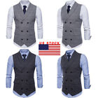 US Fashion Men Formal Business Casual Dress Vest Suit Slim F
