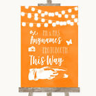 Wedding Sign Poster Print Orange Watercolour Lights Photobooth This Way Right