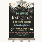 Wedding Sign Shabby Chic Chalk Instagram Social Media Photo Sharing