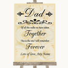 Wedding Sign Poster Print Cream Roses Dad Walk Down The Aisle