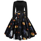 Women's Vintage Skull Print Long Sleeve Halloween Evening Party Swing Dress US