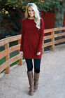 Plus Size Womens Long Sleeve Mini Dress Jumper Ladies Plain Knitted Pullover Top