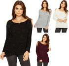 Womens Lurex Cable Knit Jumper Ladies Cut Out Cold Shoulder Long Sleeve Top 8-14