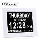 FIBISonic® Extra Large Non-Abbreviated Day&Month Digital Calendar Alarm Clocks