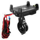 2 IN 1 Motorcycle Handlebar Mount Phone Metal Holder USB Charger With Switch