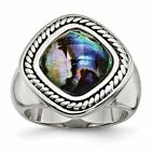 Chisel Stainless Steel Women's Antiqued and Polished Synthetic Abalone Ring image