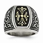 Chisel Stainless Steel Men's Antiqued and Yellow IP-plated Cross Religious Ring