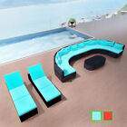 Rattan Wicker Garden Set Indoor Outdoor Seating Lounger Couch Furniture Red/blue